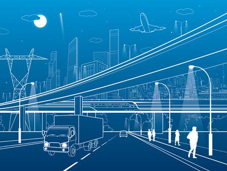 Paso elevado de coches, la infraestructura, la trama urbana, avión despega, tren movimiento ob el puente, ciudad de neón en el fondo, camión en la carretera, líneas blanco ilustración, el arte del diseño del vector Foto de archivo - 64008612