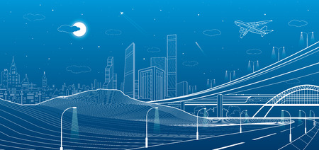 Car overpass, city infrastructure, urban plot, plane takes off, train move, transport illustration, mountains, white lines on blue background, vector design art Ilustrace