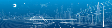 Infrastructure panorama. Car overpass, city skyline, urban scene, plane takes off, train move, transport illustration, mountains, white lines on blue background, vector design art