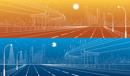 flyover: Automotive flyover, architectural and infrastructure panorama, transport overpass, highway. Business center, night city, towers and skyscrapers, white lines urban scene, day and vector design art