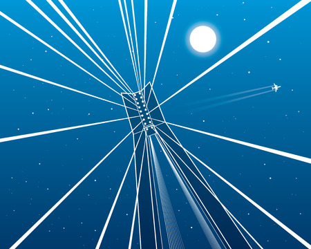 shrouds: Cable-stayed bridge, pillar goes up, night sky, flying aircraft, white lines on blue background, vector design art Illustration