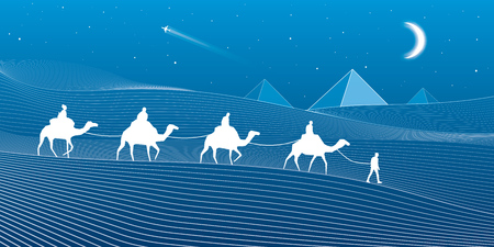 sand dunes: Caravan passes through the sand desert, dunes, pyramids on the horizon, white lines on blue background, day and night scene, vector design art