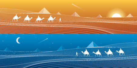 sand dunes: Caravan passes through the sand desert, dunes, pyramids on the horizon, white lines on blue background, day and night panorama, vector design art