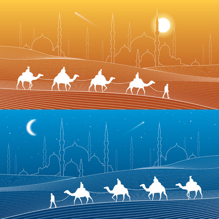 sand dunes: Caravan passes through the sand desert, dunes. Mosques and the tower on the horizon, white lines on blue and orange background, day and night scene, vector design art
