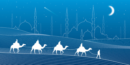 sand dunes: Caravan passes through the sand desert, dunes. Mosques and the tower on the horizon, white lines on blue background, night scene, vector design art