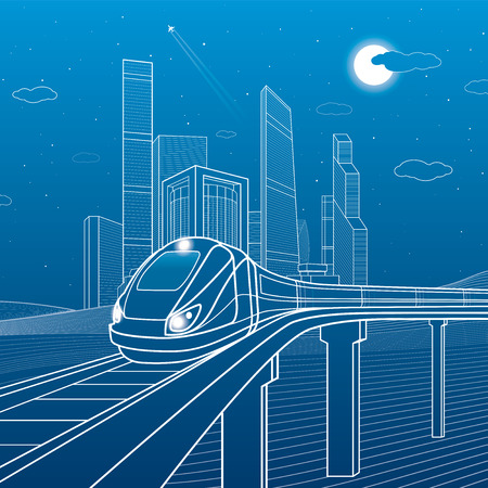 Train on a bridge. Business center, architecture, transport and urban illustration, neon city, white lines on blue background, skyscrapers and towers, vector design art
