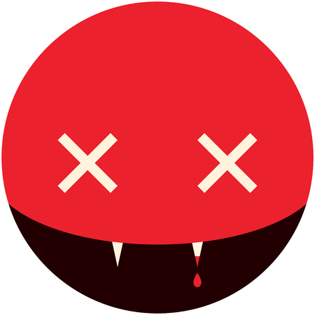 holiday picture: Minimalistic smile picture vampire for Halloween holiday in the circle, vector design