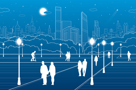 walk of life: City scene, people walk on the square, citys skyline on background, street life, night town, vector design art