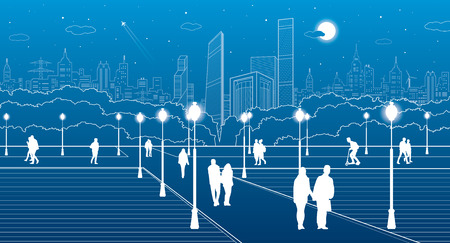 walk of life: City scene, people walk on the square, citys skyline on background, street life, night town, design art