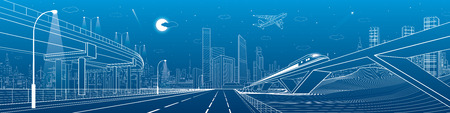 Automobile overpass, infrastructure and transportation panorama, airplane fly, train move on the bridge, business center, night city, towers and skyscrapers, urban scene, vector design art Illustration