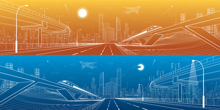 Automobile overpass, infrastructure and transportation panorama, airplane fly, train move on the bridge, business center, day and night city, towers and skyscrapers, urban scene, vector design art
