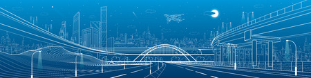 Automotive flyover, infrastructure and transportation panorama, plane flies, train move on the bridge, business center, night city, towers and skyscrapers, urban scene, vector design art Illustration