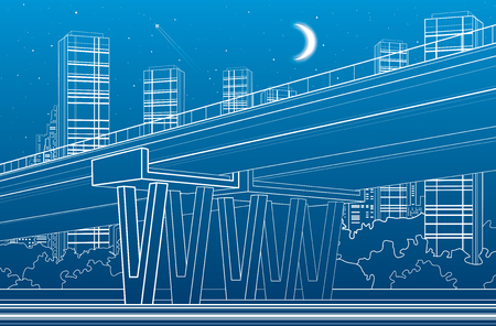 flyover: Flyover, architectural and infrastructure illustration, transport overpass, highway, white lines urban scene, night city on background, vector design art