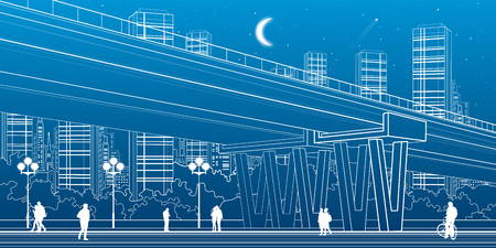 urban scene: Flyover, architectural and infrastructure illustration, transport overpass, highway, white lines urban scene, people walking, night city on background, vector design art Illustration