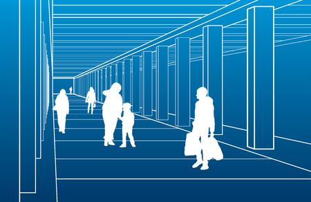 fife: Subway station, people are waiting the train, city scene, white lines on blue background, vector design art Illustration