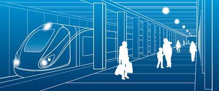 Estación de metro, las personas con las cosas bajaron del tren, escena de la ciudad, la ilustración de transporte, líneas blancas sobre fondo azul, diseño del vector del arte