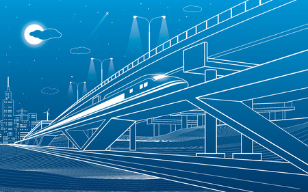 Train move on the bridge, night city, industrial and transportation illustration, white lines landscape, night town, design art Ilustrace