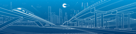 Automotive overpass, infrastructure and transportation illustration, transport flyover, highway, white lines urban scene, train move on the bridge, night city on background, design art