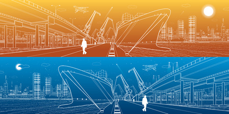 Transportation and industrial panorama. Cargo ship loading, boats on the water, sea harbor. Transport overpass, highway, urban scene, airplane fly, night city, people go on the pier.
