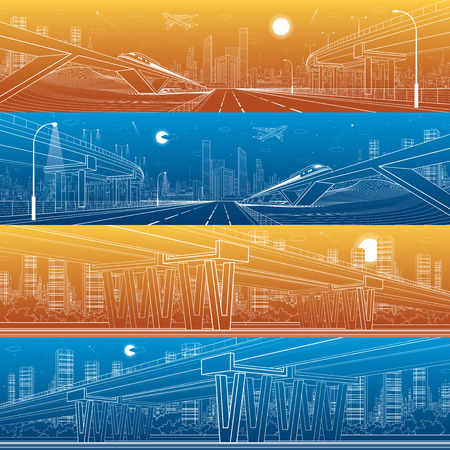 urban scene: Architectural and infrastructure panorama set, transport overpass, highway, train move on the bridge, white lines urban scene, day and night city on background,design art Illustration