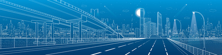 Automotive flyover, architectural and infrastructure panorama, transport overpass, highway. Business center, night city, towers and skyscrapers, white lines urban scene, design art