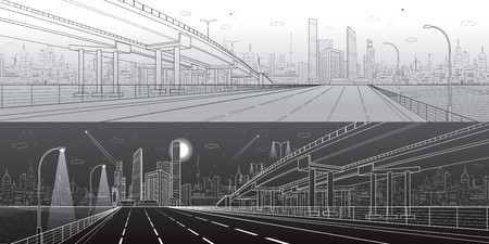 Automotive flyover, architectural and infrastructure panorama, transport overpass, highway.  イラスト・ベクター素材