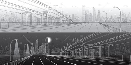 Auto Flyover, Architektur und Infrastruktur Panorama, Transport Überführung, Autobahn.