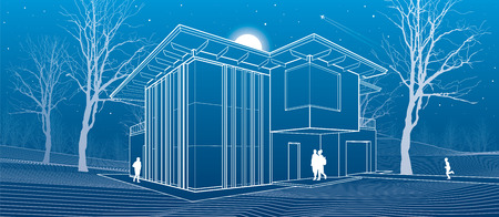 architectural design: Modern house, people in the courtyard of his house. Architectural illustration, night scene, white lines, vector design art Illustration