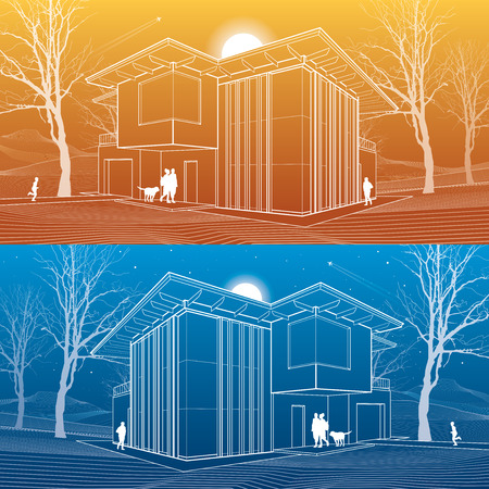 Modern house, people in the courtyard of his house. Architectural illustration, day and night scene, white lines, vector design art Vettoriali