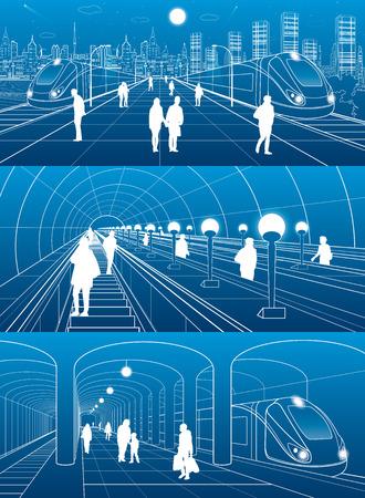 Subway station, people walking, train move. Infrastructure and transport illustration set. Excavators, city scene, white lines on blue background, vector design art
