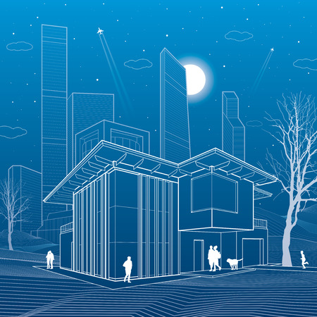 business scene: Modern house. People walking. Business center on background. Architecture and urban illustration, night scene, neon city, white lines, skyscrapers and towers, vector design art