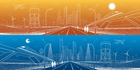 인프라 파노라마. 고속도로, 교량, 비즈니스 센터, 건축 및 도시, 네온 도시, 풍력 터빈, 워터 타워, 흰색 선, 역동적 인 구성, 벡터 디자인 아트로 여행