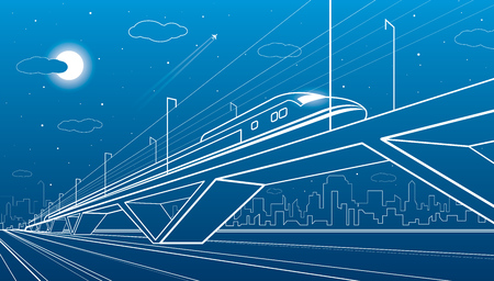 Train on the bridge, dynamic composition, industrial and transport illustration, white lines landscape on blue background, night city, vector design art Illusztráció
