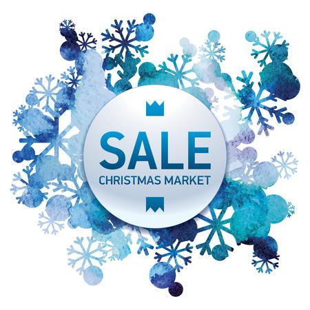christmas market: Christmas market, seasons sale, snow bouquet, handmade painted, abstract vector design art Illustration