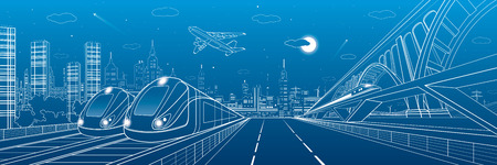 depot: Automobile highway, infrastructure and transportation panorama, airplane fly, train move on the bridge, two locomotives in depot, night city, towers and skyscrapers, urban scene, vector design art