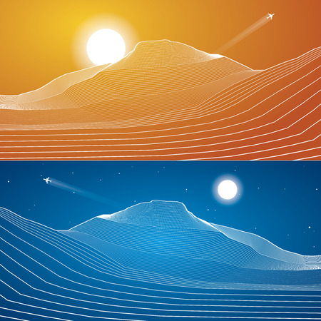 sand dunes: White lines, sand dunes, mountains, desert, abstraction composition, vector design background Illustration