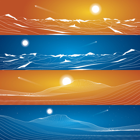 sand dunes: Sand dunes, snow-capped mountains, landscape view, vector design Illustration