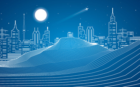 sand dunes: White lines, sand dunes, mountains, desert, night city on background, abstraction composition, vector design