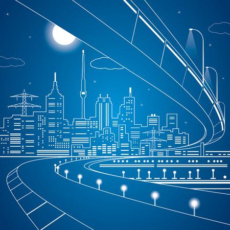 Vector lines bridge and trasport overpass, energy city, infrastructure design Illustration