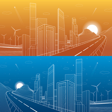 Highway in mountains. Tower and skyscrapers, neon city and business buildings, white lines on blue and orange background, day and night scene, windmills power, vector design art Stock Illustratie