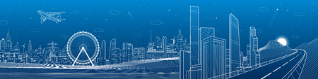 Highway in the mountains, city and transport mega panorama, business center, skyline, white lines landscape, night town, airplane fly, vector design art Illustration