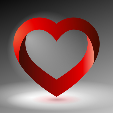 love image: Volume heart, valentines day card, love image, red and gray, vector design icon