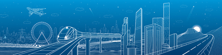mega city: Highway in the mountains, city and transport mega panorama, train on the bridge, skyline, white lines landscape, night town, airplane fly, vector design art Illustration