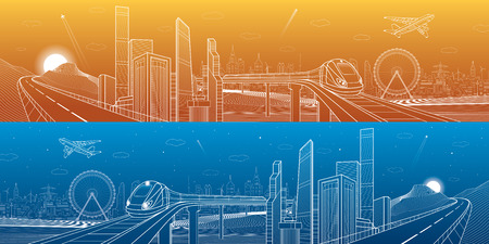 mega city: Highway in the mountains, city and transport mega panorama, train on the bridge, skyline, white lines landscape, day and night town, airplane fly, vector design art