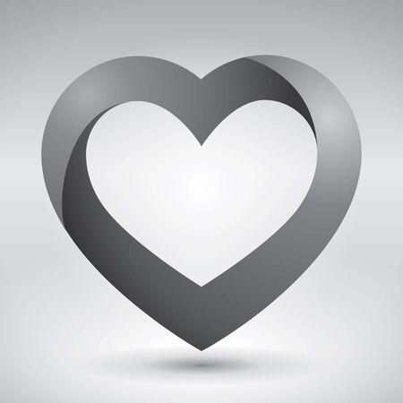 love image: Volume heart, valentines day card, love image, vector design icon