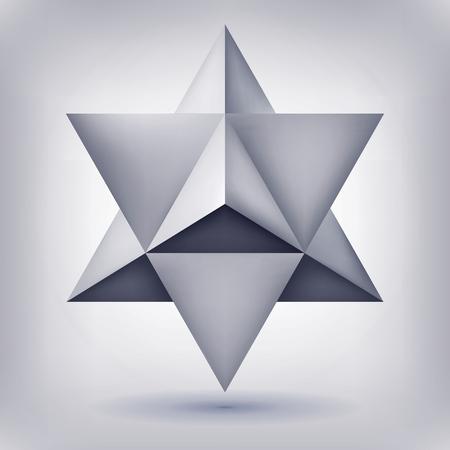 Merkaba, 3D crystal, kształt geometrii, gwiazda głośności, wersja siatki, abstrakcyjne obiektów wektorowych