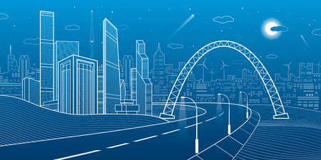 Highway under the bridge. Night city on background, neon town, business buildings, towers and houses on skyline, infrastructure illustration, airplane fly, urban scene, vector design art