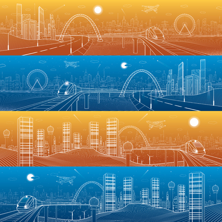 City and transport mega panorama. Highway in the mountains, train rides on the bridge, skyline, white lines infrastructure landscape, day and night town, airplane fly, urban scene, vector design art Ilustrace