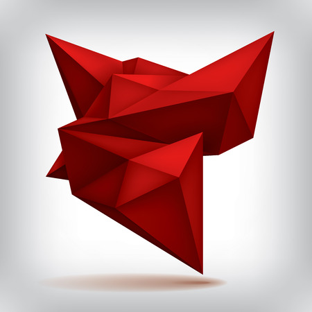 Volume red geometric shape, 3d crystal, abstraction low polygons object, vector design form