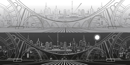 landscape architecture: Big bridge, amazing panorama city, day and night town. Architecture and infrastructure illustration. Lines landscape, vector design art